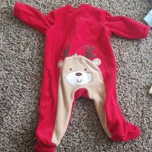 2 for $15 Christmas Reindeer booty footie zip